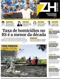 Capa do jornal Zero Hora 10/01/2020