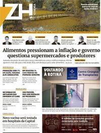 Capa do jornal Zero Hora 10/09/2020