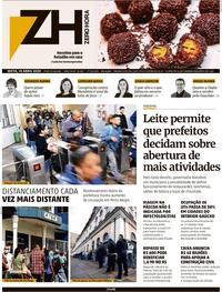 Capa do jornal Zero Hora 11/04/2020