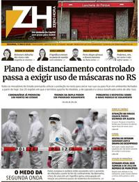 Capa do jornal Zero Hora 11/05/2020