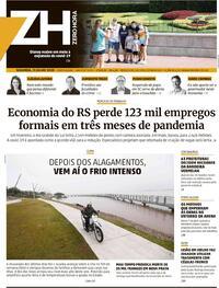 Capa do jornal Zero Hora 13/07/2020