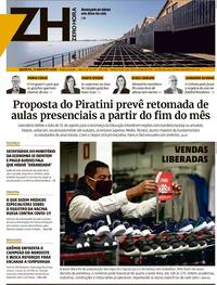 Capa do jornal Zero Hora 13/08/2020