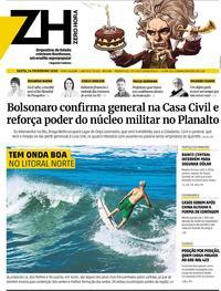 Capa do jornal Zero Hora 14/02/2020