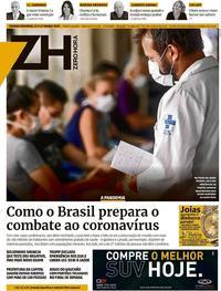 Capa do jornal Zero Hora 14/03/2020