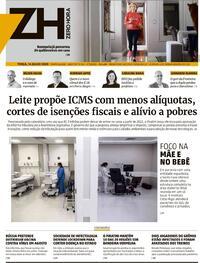 Capa do jornal Zero Hora 14/07/2020
