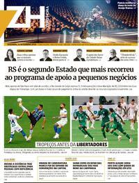 Capa do jornal Zero Hora 14/09/2020