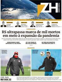 Capa do jornal Zero Hora 15/07/2020