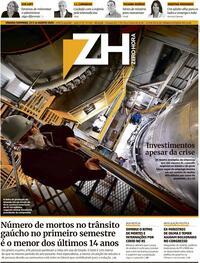 Capa do jornal Zero Hora 15/08/2020