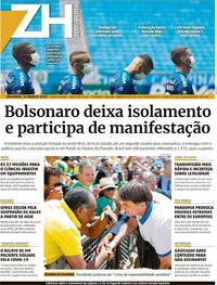 Capa do jornal Zero Hora 16/03/2020