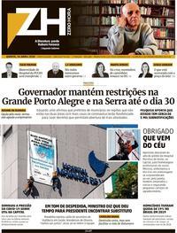 Capa do jornal Zero Hora 16/04/2020