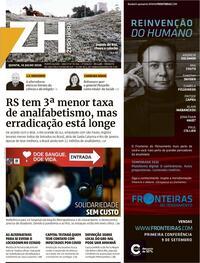 Capa do jornal Zero Hora 16/07/2020