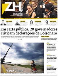 Capa do jornal Zero Hora 18/02/2020