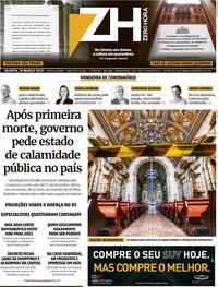 Capa do jornal Zero Hora 18/03/2020