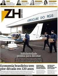Capa do jornal Zero Hora 18/04/2020
