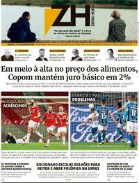 Capa do jornal Zero Hora 18/09/2020