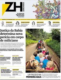 Capa do jornal Zero Hora 19/02/2020