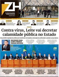 Capa do jornal Zero Hora 19/03/2020