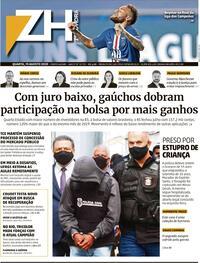 Capa do jornal Zero Hora 19/08/2020