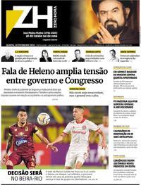 Capa do jornal Zero Hora 20/02/2020