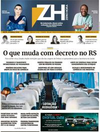 Capa do jornal Zero Hora 20/03/2020