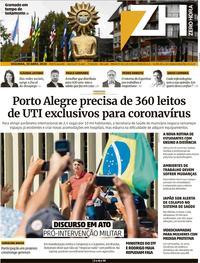 Capa do jornal Zero Hora 20/04/2020