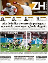 Capa do jornal Zero Hora 20/10/2020