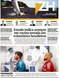 Capa do jornal Zero Hora 21/07/2020