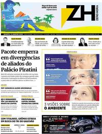Capa do jornal Zero Hora 22/01/2020