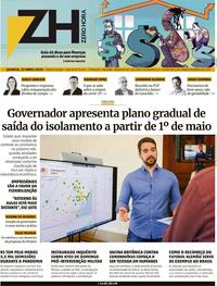 Capa do jornal Zero Hora 22/04/2020