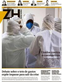 Capa do jornal Zero Hora 22/08/2020