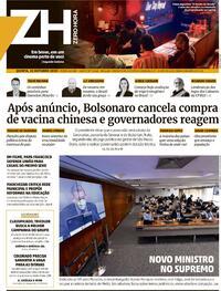 Capa do jornal Zero Hora 22/10/2020