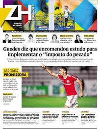 Capa do jornal Zero Hora 24/01/2020