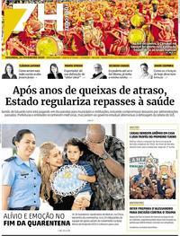Capa do jornal Zero Hora 24/02/2020