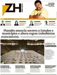 Capa do jornal Zero Hora 24/03/2020