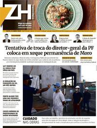 Capa do jornal Zero Hora 24/04/2020
