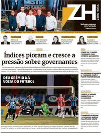 Capa do jornal Zero Hora 24/07/2020