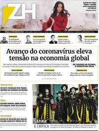 Capa do jornal Zero Hora 25/02/2020