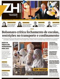 Capa do jornal Zero Hora 25/03/2020
