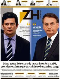 Capa do jornal Zero Hora 25/04/2020