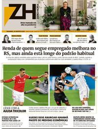 Capa do jornal Zero Hora 25/08/2020