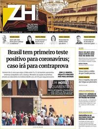 Capa do jornal Zero Hora 26/02/2020