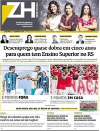 Capa do jornal Zero Hora 27/01/2020