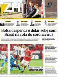 Capa do jornal Zero Hora 27/02/2020