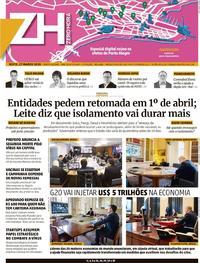 Capa do jornal Zero Hora 27/03/2020