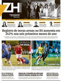 Capa do jornal Zero Hora 27/07/2020