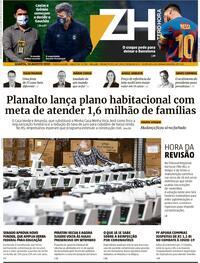 Capa do jornal Zero Hora 27/08/2020