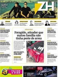 Capa do jornal Zero Hora 28/01/2020