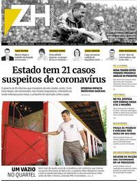 Capa do jornal Zero Hora 28/02/2020