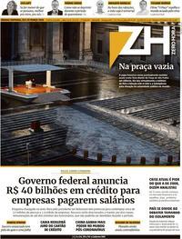 Capa do jornal Zero Hora 28/03/2020