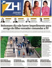 Capa do jornal Zero Hora 28/04/2020